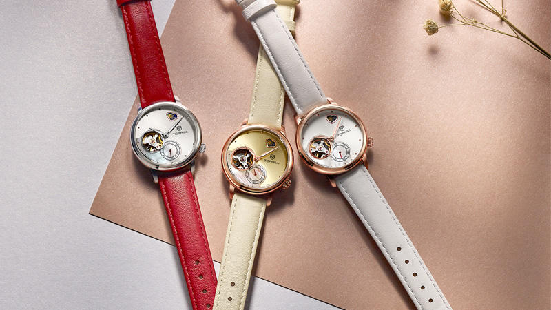 Birthday Gift for Girls Moon Phrase Genuine Leather Band Automatic Mechanical Women Wrist Watch TA025L