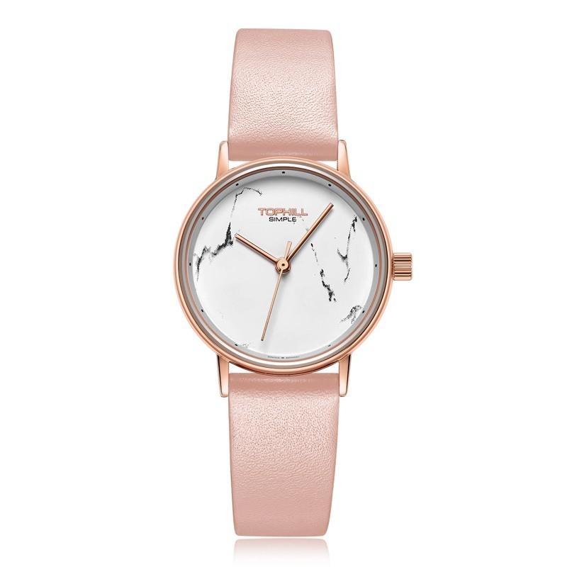 2019 New Fashion Casual Simple Design Watches Women Leather Quartz Marble Dial Ladies Wrist Watch TS013L