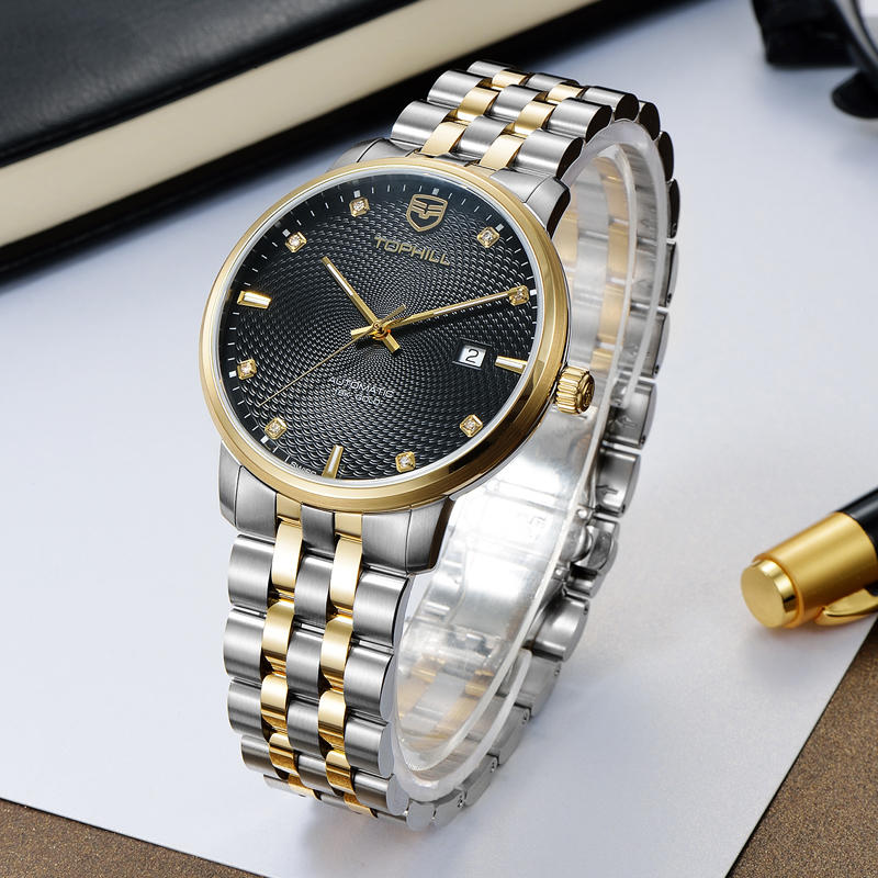Custom Logo Classic 18k Gold Automatic Mechanical Man Watch Britannia Watch