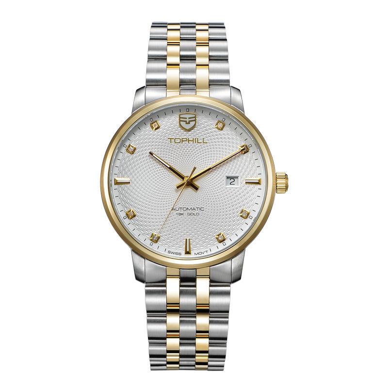 Custom Logo Classic 18k Gold Automatic Mechanical Man Watch Britannia Watch