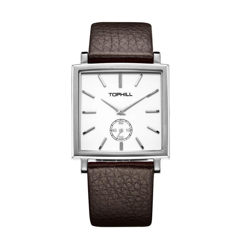 Men Quartz Movement 316L Genuine Leather Strap Stainless Steel Square Watches
