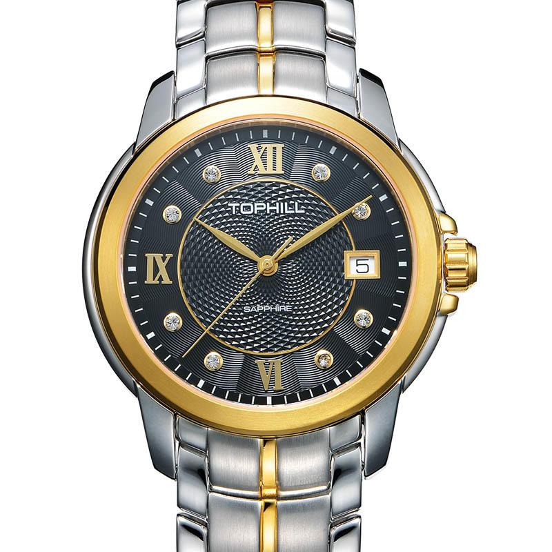 All Stainless Steel Slim Stone Quartz Men Wrist Watches