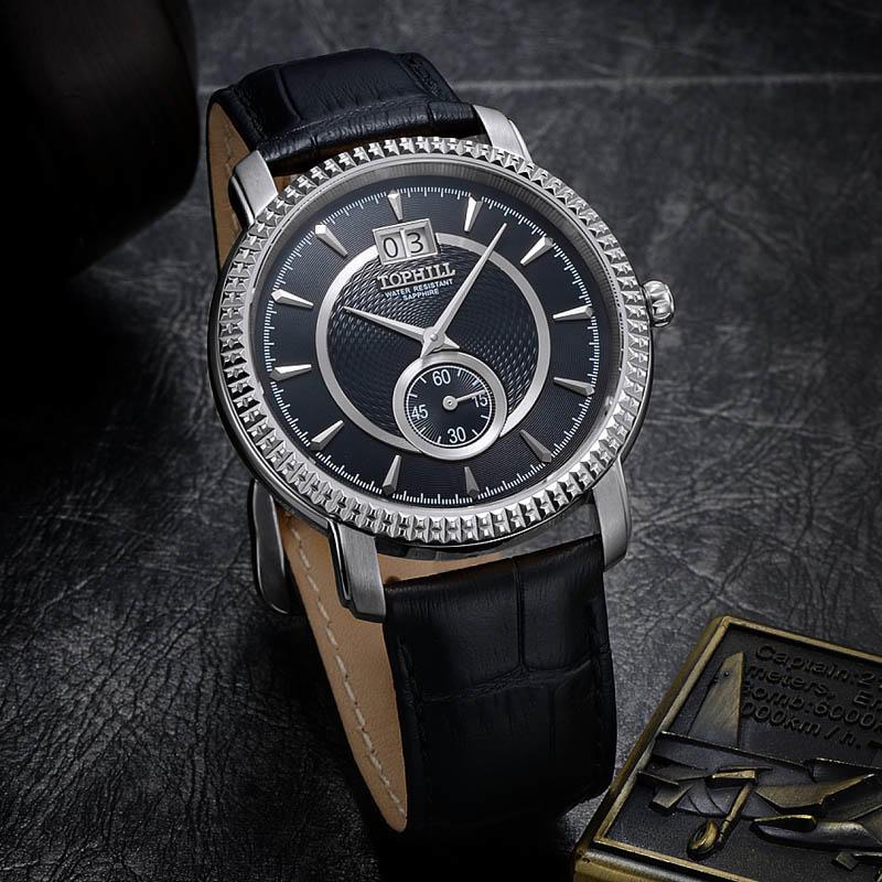 Stainless Steel Genuine Leather Band Quartz Chronograph Men Wrist Watch