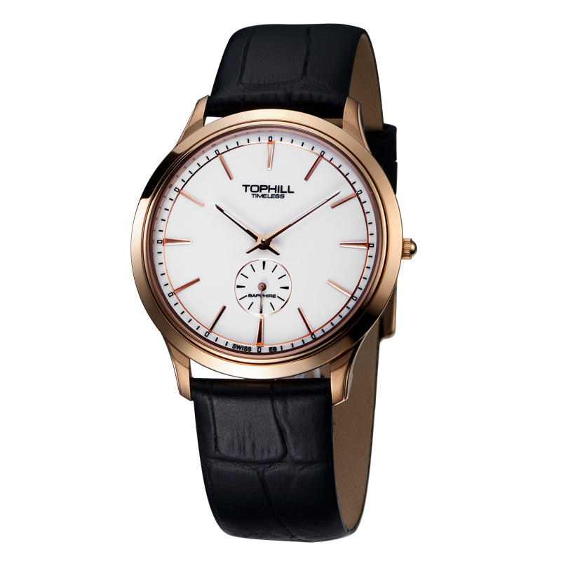 Ultra Thin Luminous Hands Stainless Steel Back Case Leather Strap Quartz Man Watch