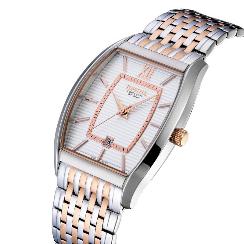 Stainless Steel Band Square Shape Date Window Men Wrist Watch