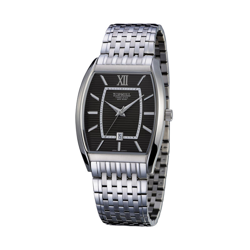 Stainless Steel Band Square Shape Date Window Men Wrist Watch