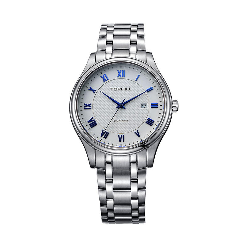 Roman Numerals Blue Word Nail Japan Movement Quartz Stainless Steel Back Men Watch