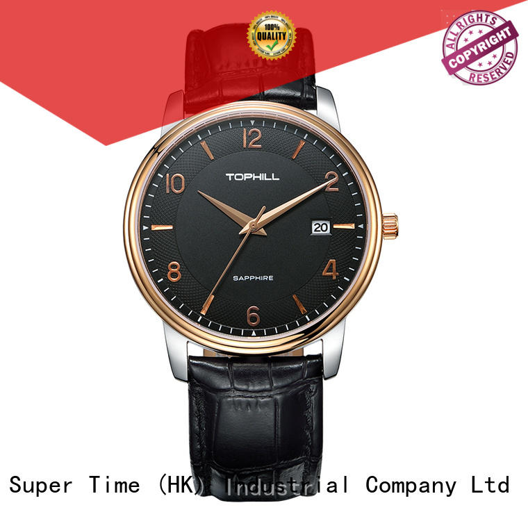 Genuine Leather Strap Japan Movement Quartz Men Wrist Watch