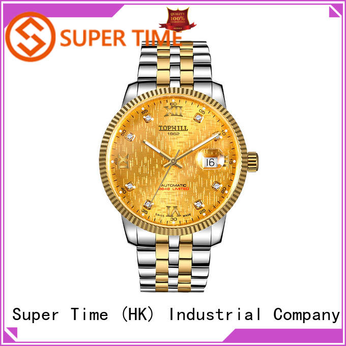 Super Time bracelet automatic watch visible mechanism supplier for formal dinner