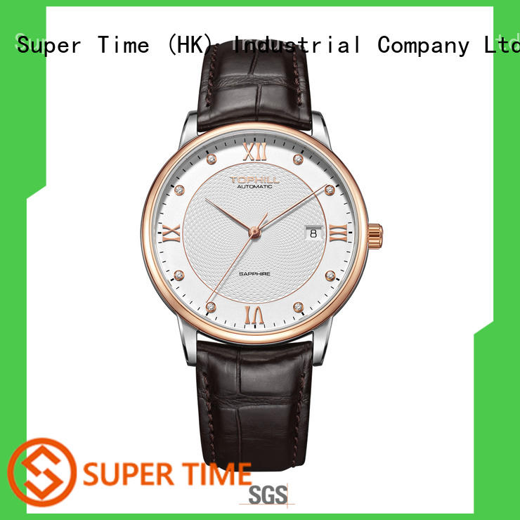 Super Time luminous automatic watch visible mechanism manufacturer for formal dinner