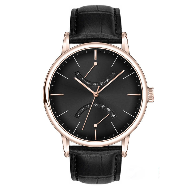 Multifunction Genuine Leather Strap Stainless Steel Case Back Men Watch