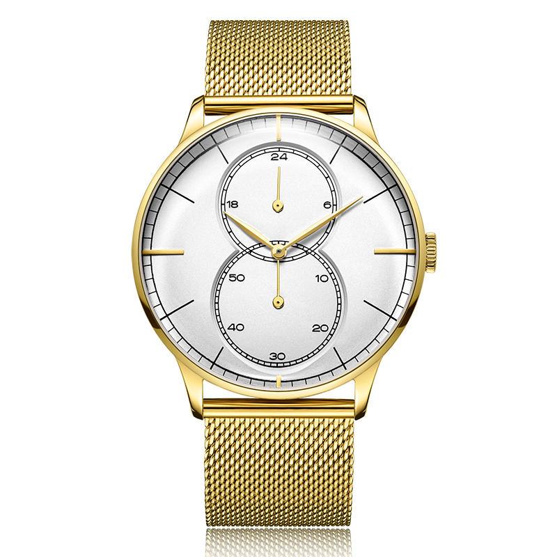 Vintage Dome Shape Glass Stainless Steel Case Back Men Quartz Wristwatch
