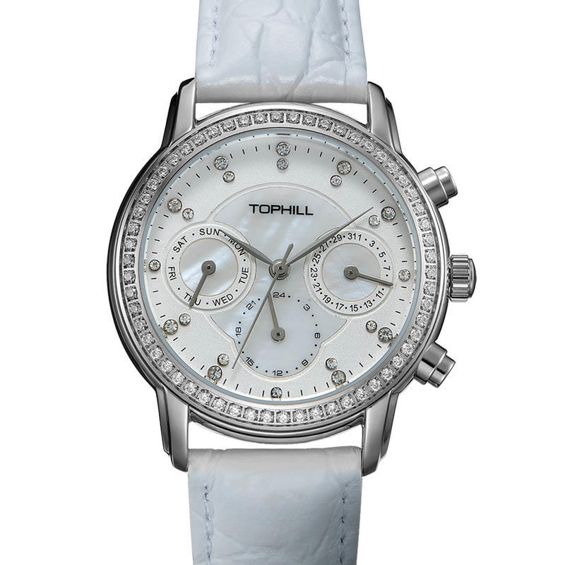 Women's Stainless Steel Multifunction stones Casual Watch
