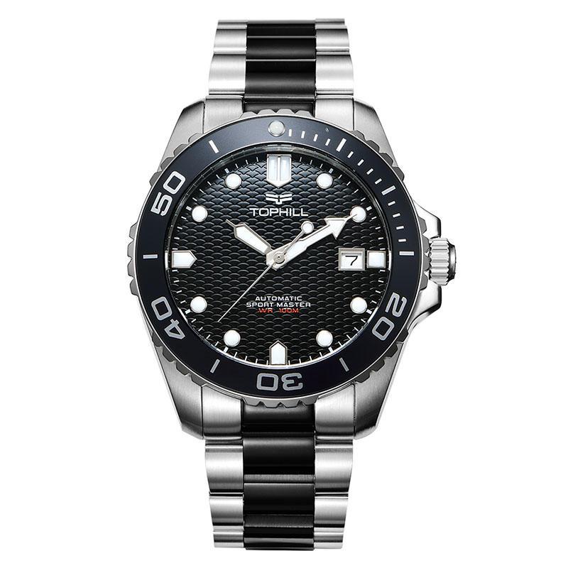 Men's Harborside Silver/Black Stainless Steel Bracelet Watch Dive watch,automatic movement