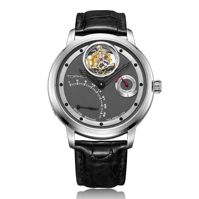 OEM Stainless steel men watch custom power reserve tourbillon movement Watch