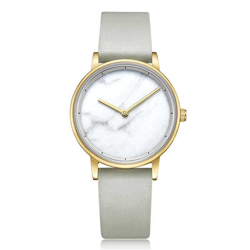 New Brief Marble Face Genuine Leather Band Lady Quartz Watch