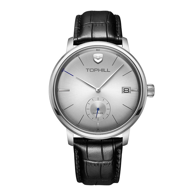 Sub dial Stainless steel Case back Geuine Leather Strap Date Quartz Men Wristwatch