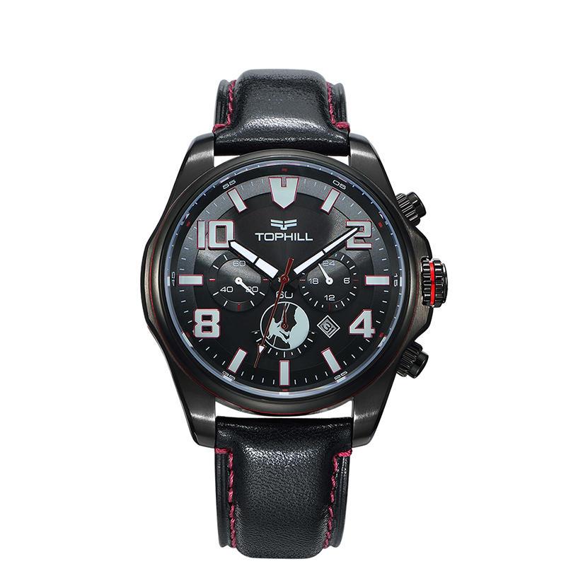 Solar Power Super Luminous Multifunction Genuine Leather Chronograph Men Wrist Watch