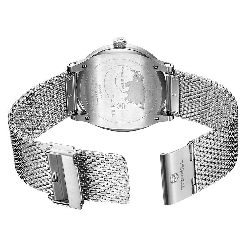 Mesh Band Quartz Movt Sub Dial Men Wrist Watches