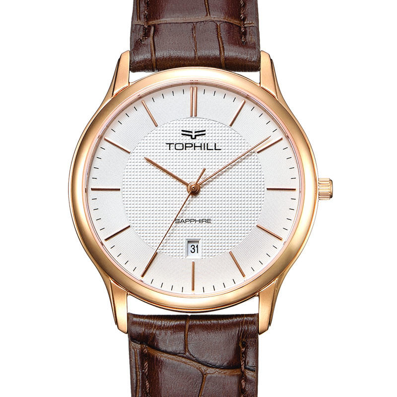 Rose Gold Minimalist Stainless Steel Case Back Quartz Men Wristwatch