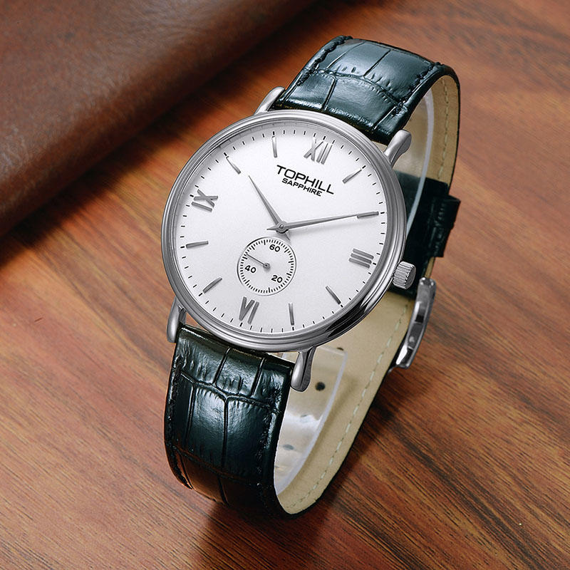 Fashion casual 3ATM waterproof sub dial japan quartz movt leather strap men watches