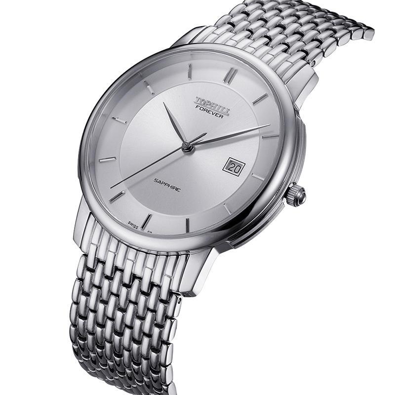 Roman Numerals Solid Stainless Steel Band Quartz Men Wristwatch