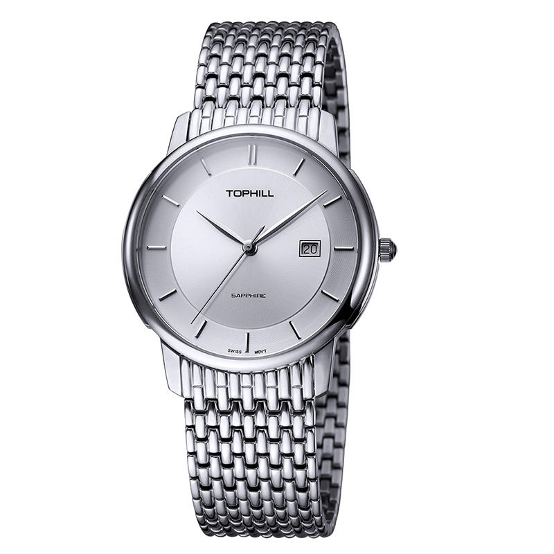 Roman Numerals Solid Stainless Steel Band Quartz Men Wristwatch