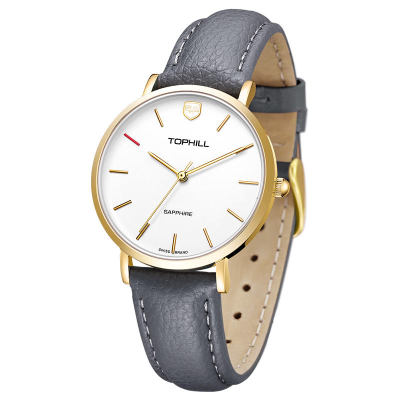 Custom Brand Genuine Leather Band Geneva Movt Sapphire Quartz Women Lady Wrist Watch