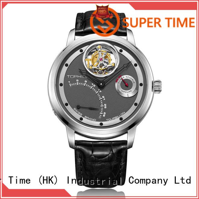OEM Stainless steel men watch custom power reserve tourbillon movement Watch