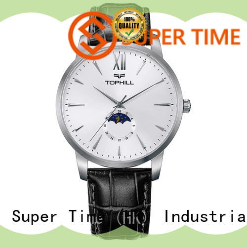Design your own logo waterproof moon phase display men wrist watch
