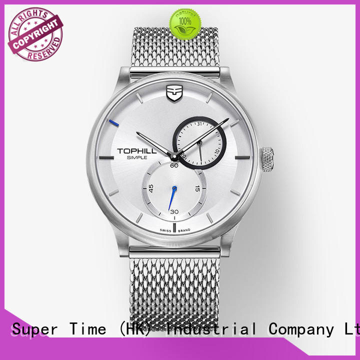 Mesh Band Quartz Movt Sub Dial Men Wrist Watches