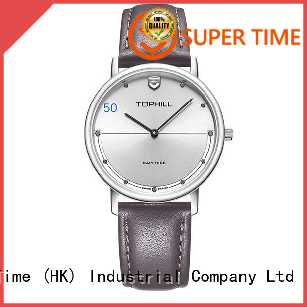 Simple Genuine Leather Strap Stainless Steel Back Case Men Quartz Watch