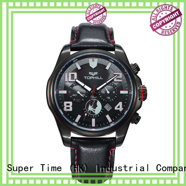 leather movement solar chronograph watches Super Time