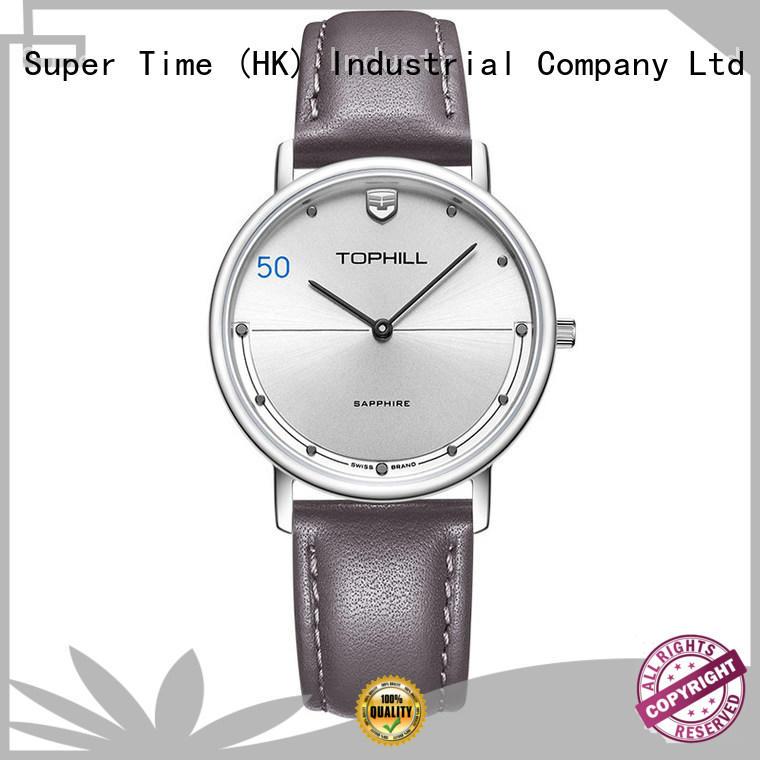 Simple Genuine Leather Strap Stainless Steel Back Case Men Quartz Watch